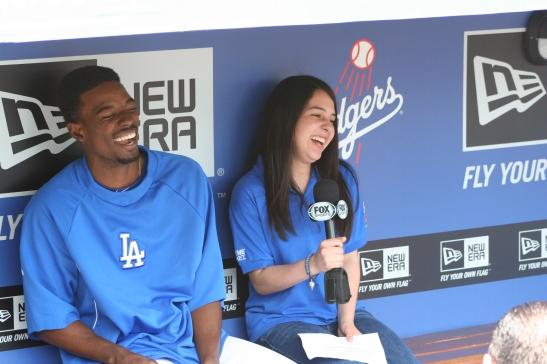Comfortable behind the mic, Skyler interviews Dodger shortstop, Dee Gordon