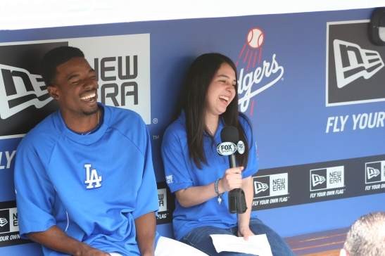 Comfortable behind the mic, Skyler interviews Dodger shortstop, Dee Gordon