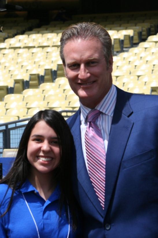 Here with Steve Lyons, a former major league player and sportscaster for FOX.