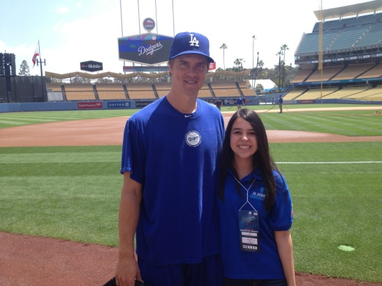 Skyler with her favorite pitcher, Zack Greinke
